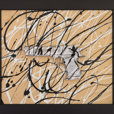 Pollock Pistol Silver on Gold-20Hx23L